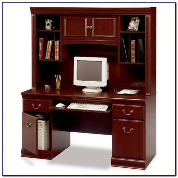 Cherry Finish Computer Desk With Hutch