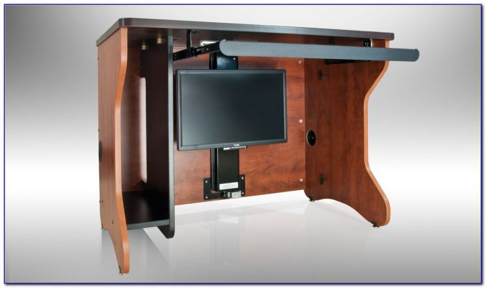 Desk With Hidden Monitor Lift Desk Home Design Ideas