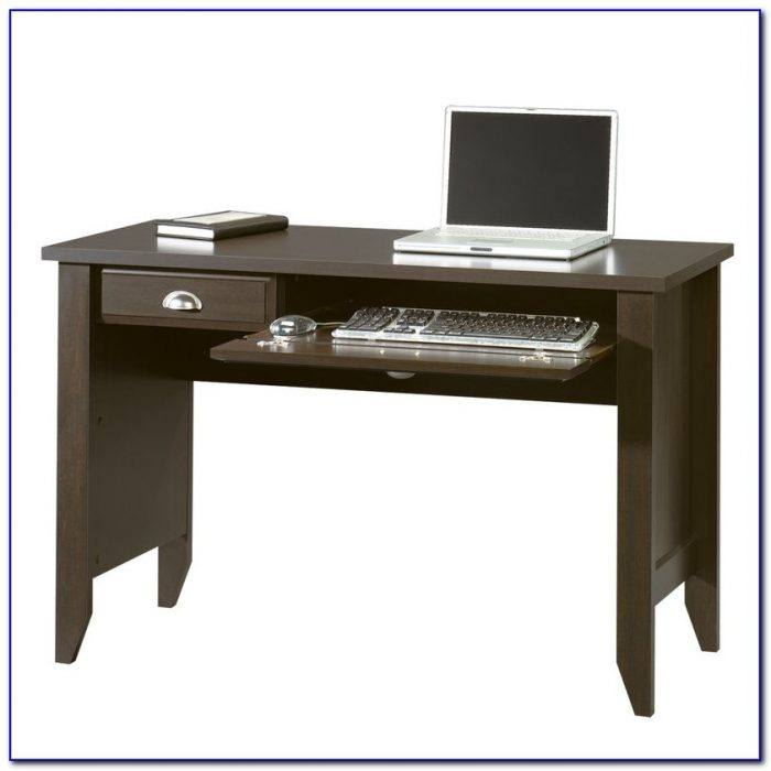 Computer Desk With Pull Out Tray In Black Finish Desk