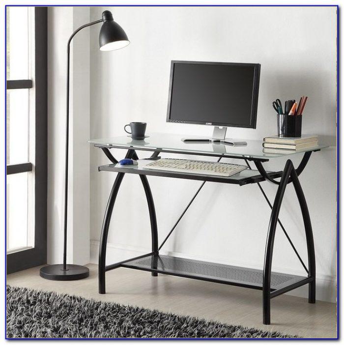 Black Metal Glass Top Desk With Keyboard Tray Desk