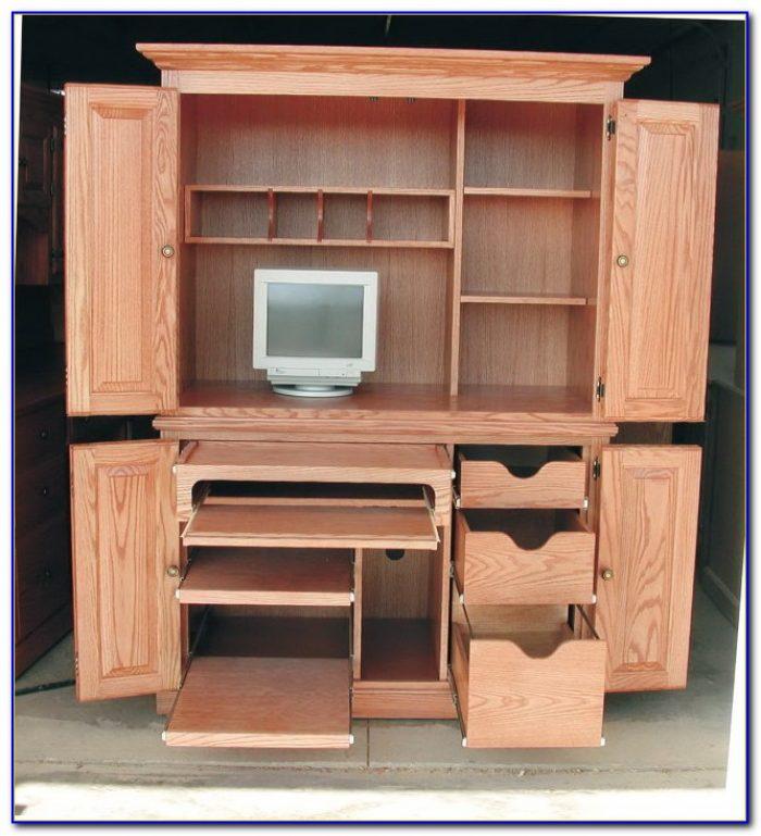 Corner Computer Cabinet Desk Desk Home Design Ideas