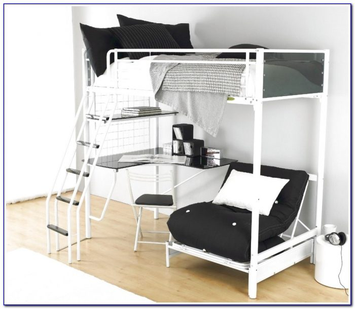 High Tek Teenage Loft Bed With Desk In Black From Parisot