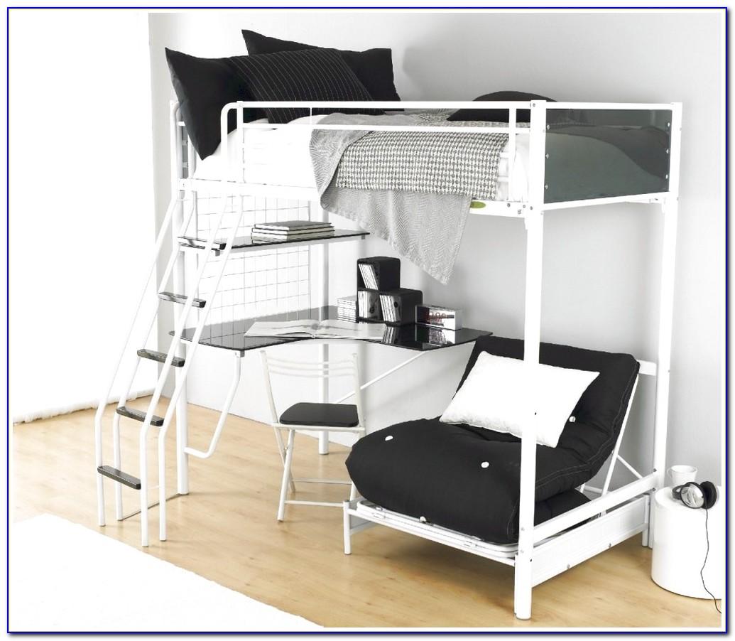 High Tek Teenage Loft Bed With Desk In Black From Parisot