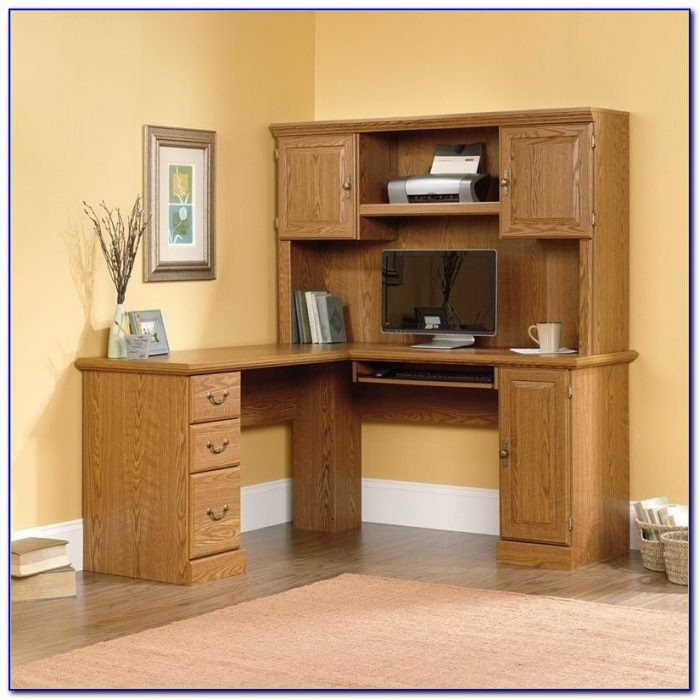 Sauder Harbor View Shaped Computer Desk Hutch Palladia