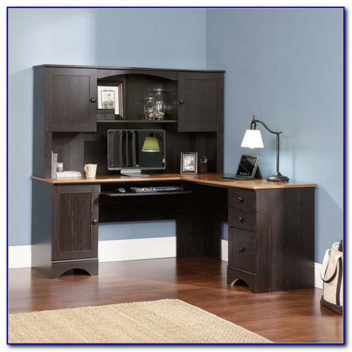 Sauder Palladia Shaped Desk Hutch Computer