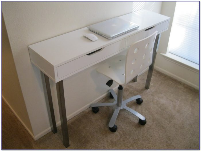 Narrow Writing Desk With Drawers Desk Home Design