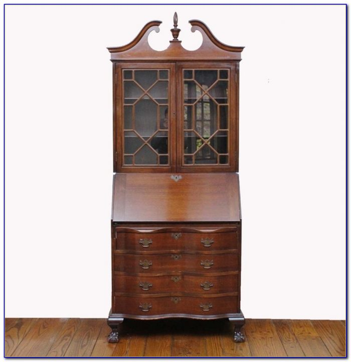 Solid Wood Secretary Style Computer Armoire Workstation Desk