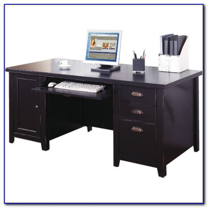 Double Pedestal Computer Desk With Hutch Desk Home