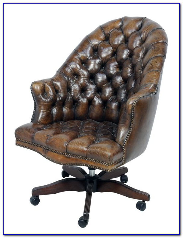 Tufted Leather Swivel Desk Chair