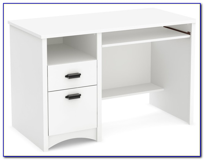 White Desk With Keyboard Drawer