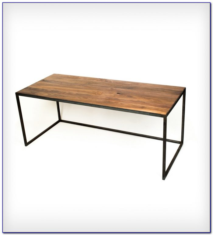 Desk metal legs wood top desk home design ideas for Metal desk with wood top