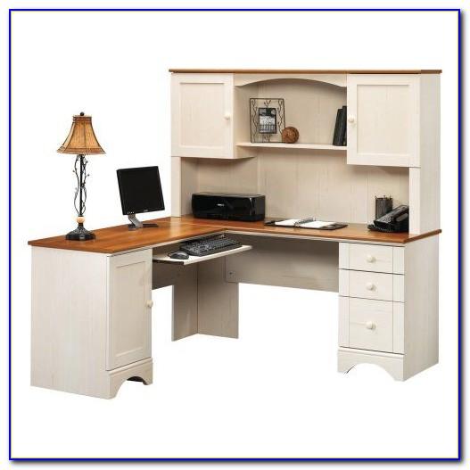 Antique White Computer Desk Hutch