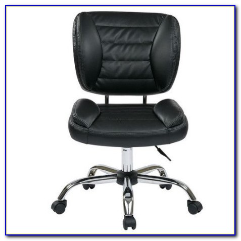 Armless Brown Leather Office Chair