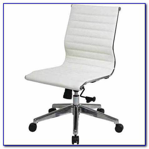 Armless Faux Leather Office Chair