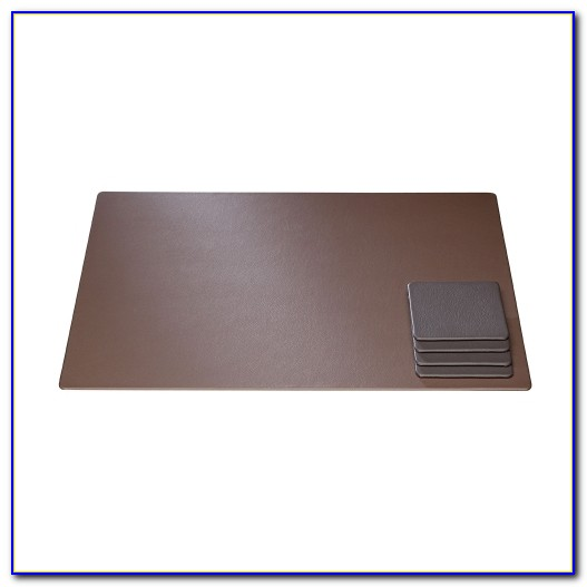 Brown Faux Leather Desk Pad