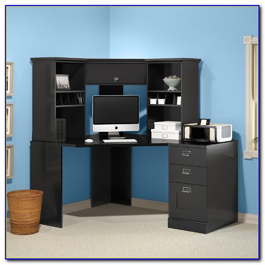 Bush Wheaton Corner Computer Desk Black And Cherry Desk