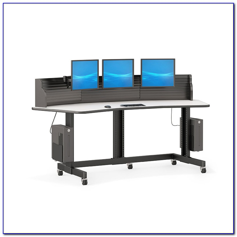 Glass Computer Desk With Monitor Stand