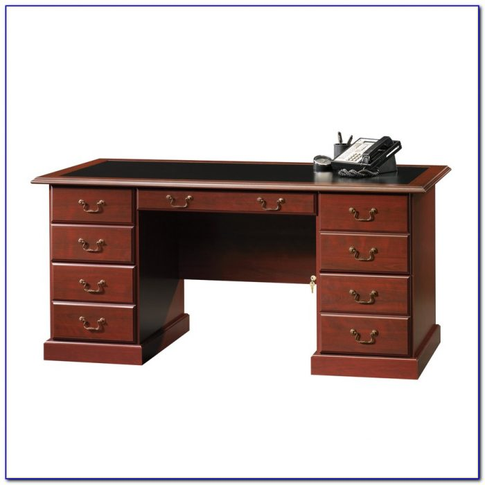 Sauder Heritage Hill Large Executive Desk Hutch Desk