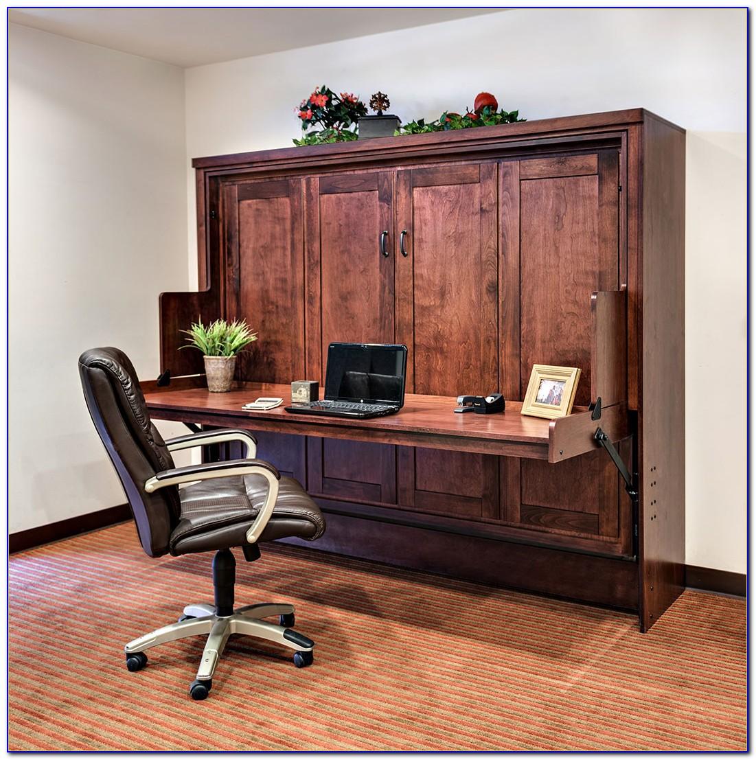Horizontal Queen Murphy Bed With Desk Desk Home Design