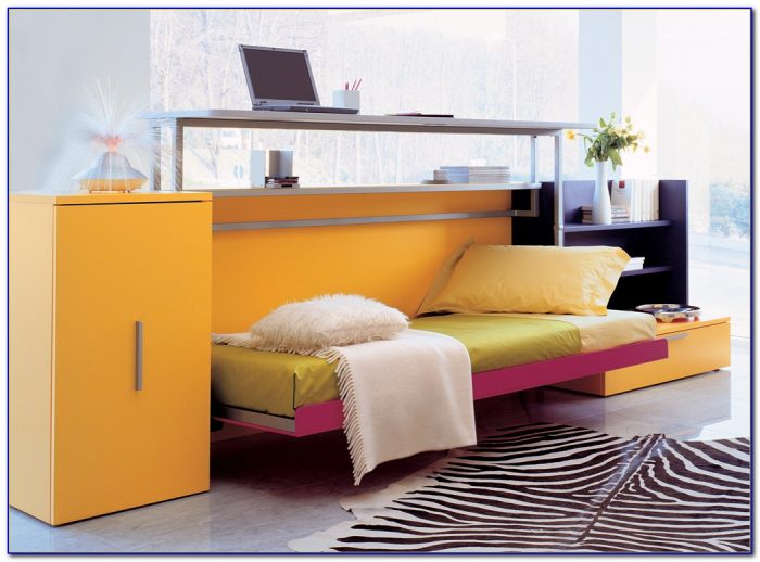 Horizontal Twin Murphy Bed With Desk