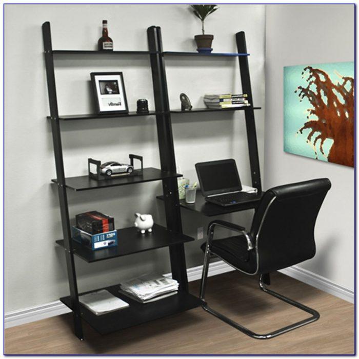 Leaning Bookshelves With Desk