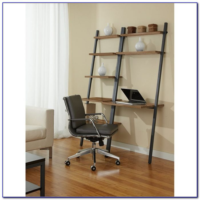 Leaning Shelf Bookcase With Desk