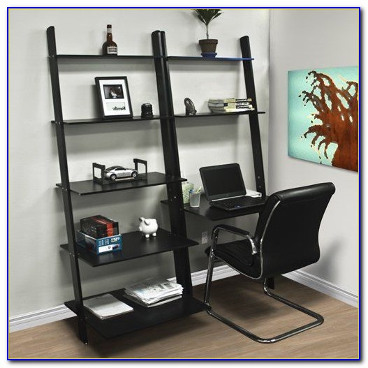 Leaning Shelf With Desk