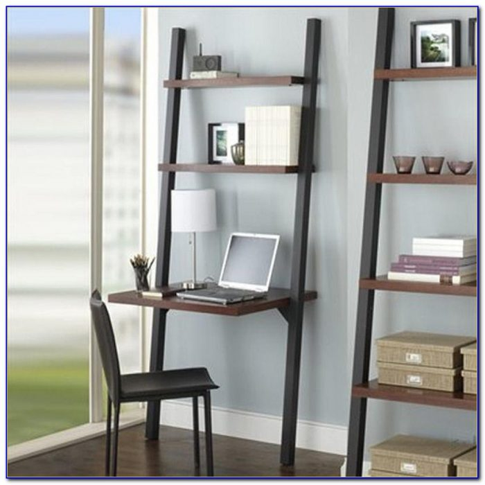 Leaning Wall Shelf With Desk Top
