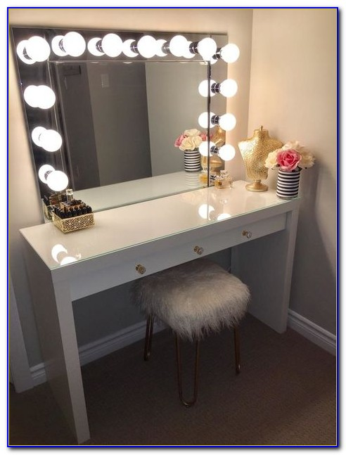 Makeup Mirror Desk With Lights