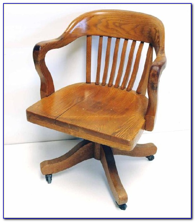Old Wooden Swivel Office Chair