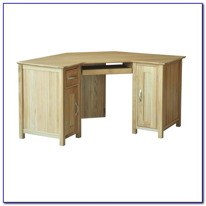 Solid Oak Corner Desk Unit