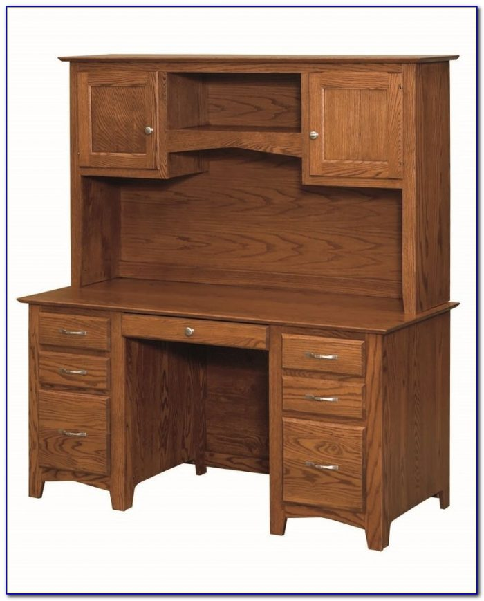Solid Oak Corner Desk With Hutch