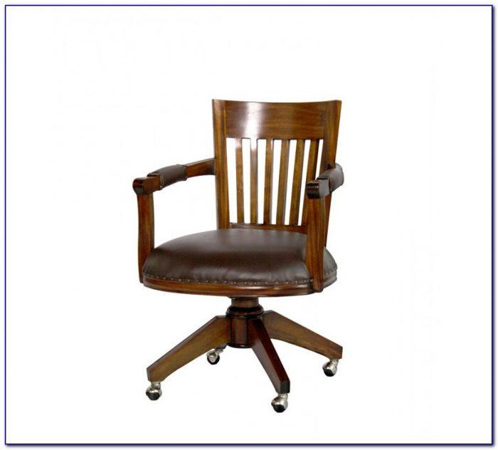 Vintage Wooden Swivel Desk Chair
