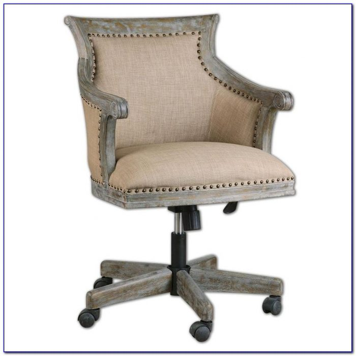White Wood Rolling Office Chair