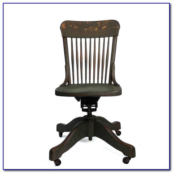 Antique Oak Desk Chair Swivel
