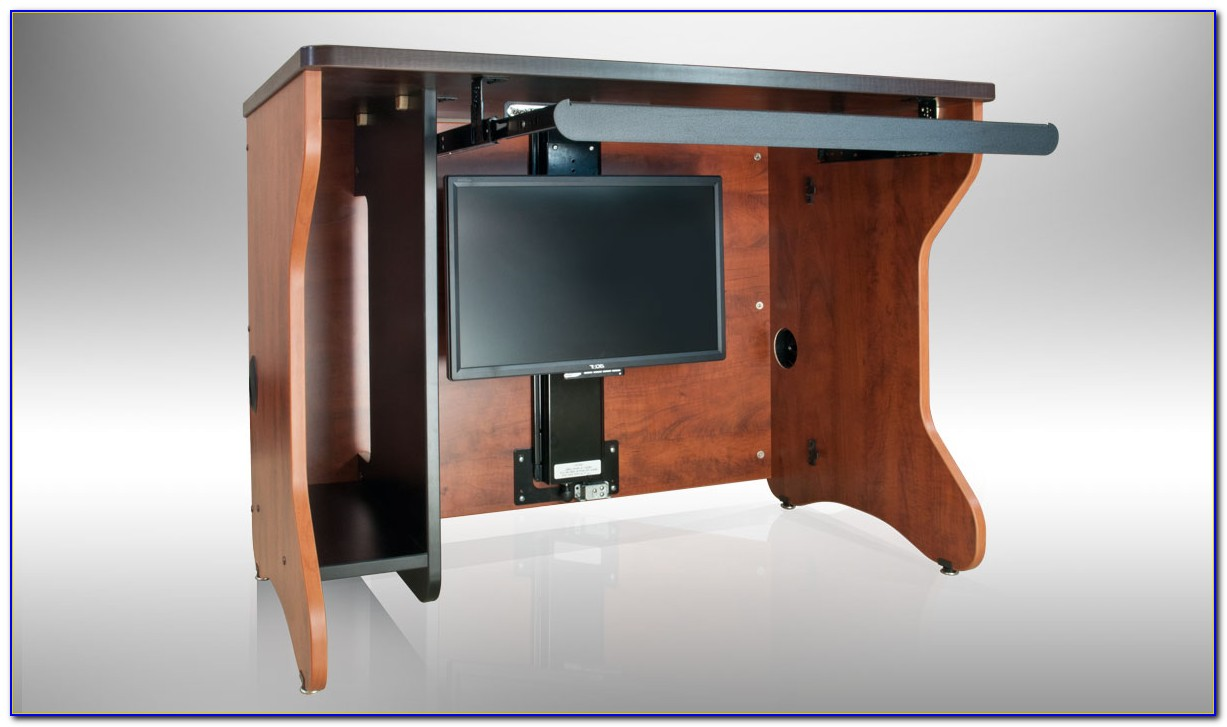 Desk With Hidden Monitor Lift Download Page Home Design