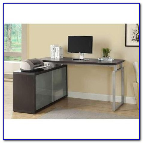Frosted Glass L Shaped Desk
