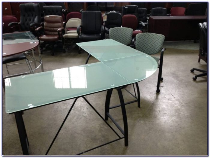 Frosted Glass Top L Shaped Desk