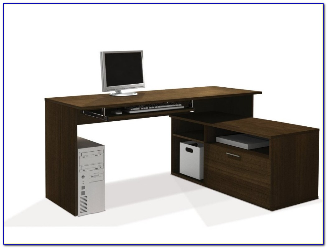 Glass L Shaped Computer Desks