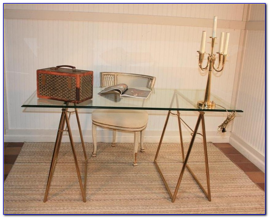 Glass top sawhorse desk with chrome steel legs desk Sawhorse desk legs
