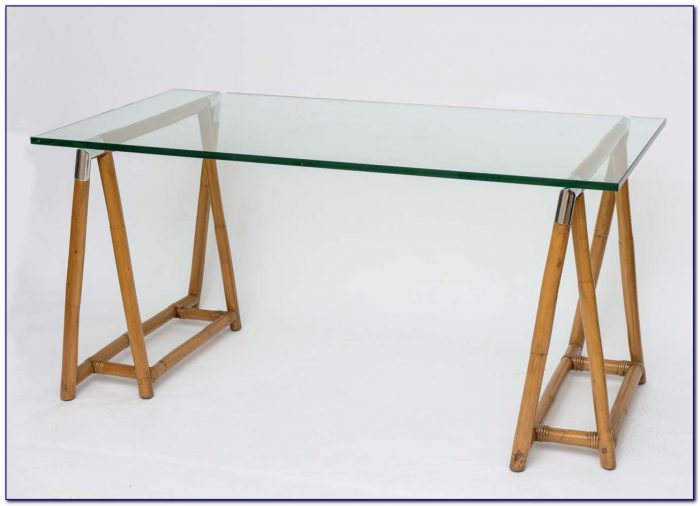 Glass Top Trestle Table Desk