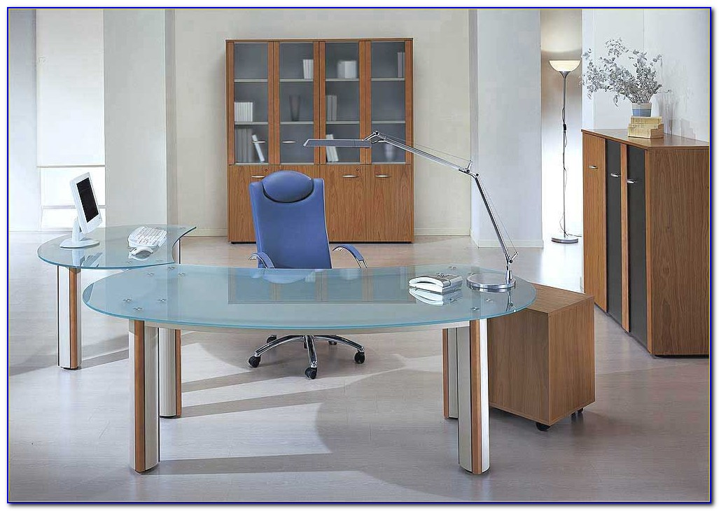 Modern Glass Executive Office Desk - Desk : Home Design ...
