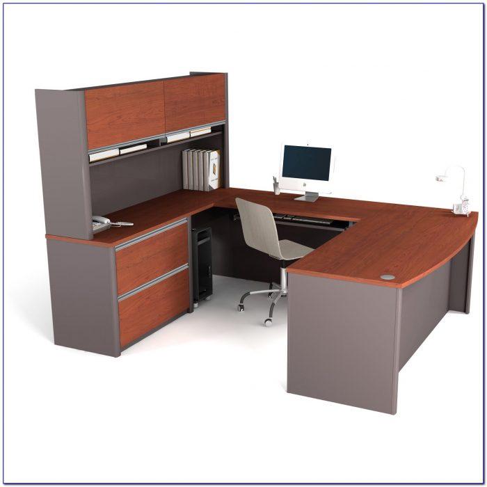 U Shaped Glass Computer Desk