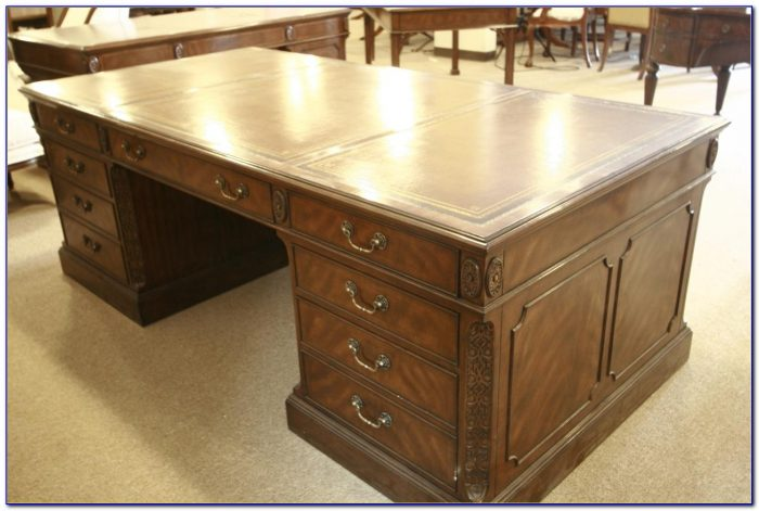 Used Leather Top Executive Desk