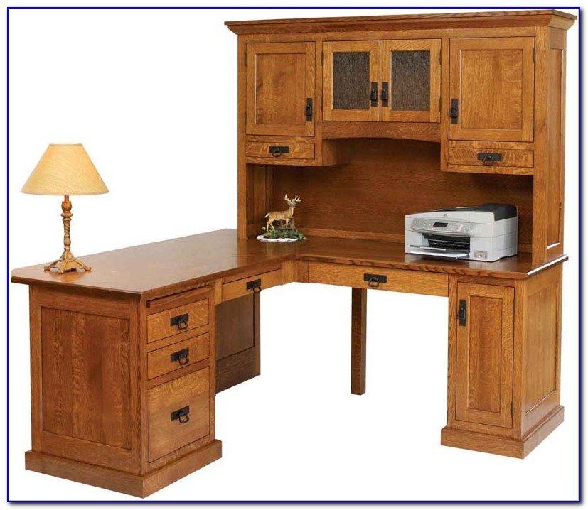 Used Solid Wood Desk And Hutch