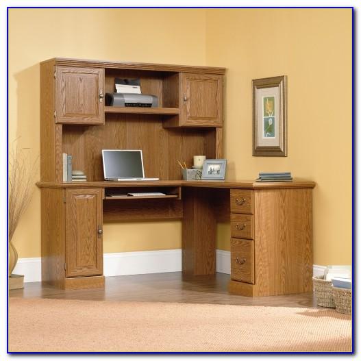 Wood Corner Computer Desk Hutch