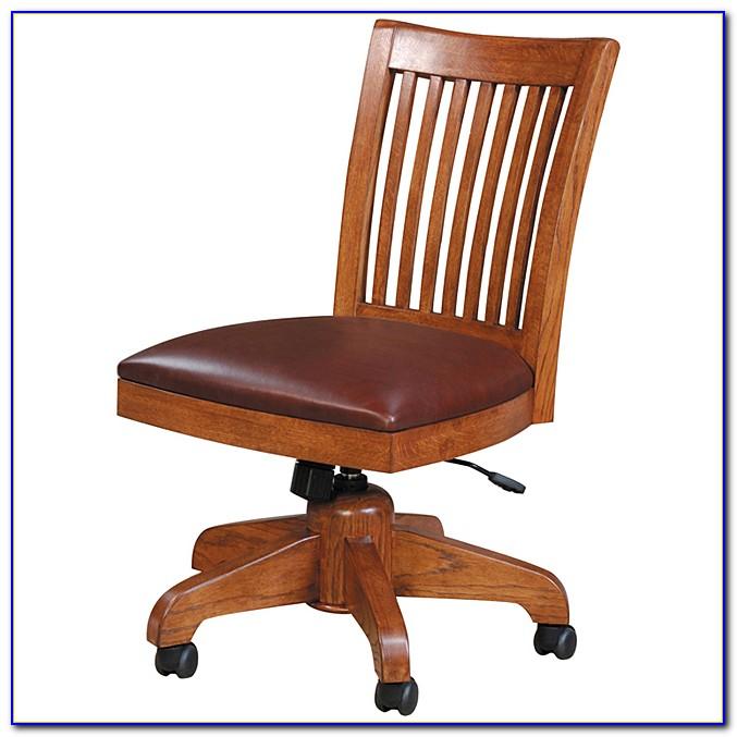 Wooden Swivel Desk Chair Antique