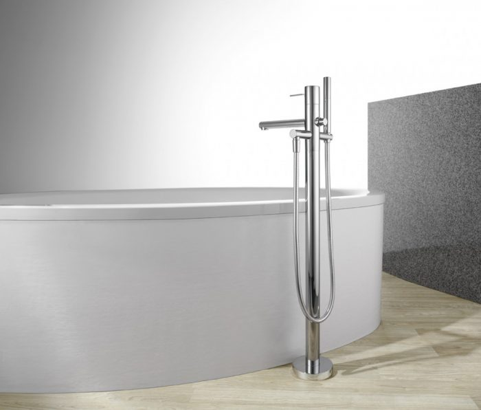 Floor Mount Tub Filler With Hand Shower