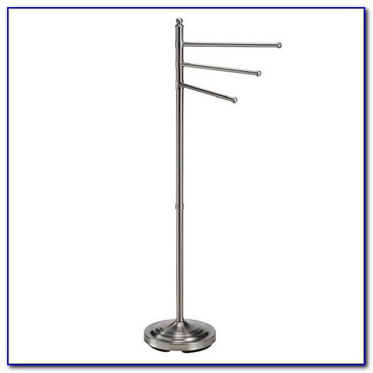 Floor Standing Towel Rack Satin Nickel