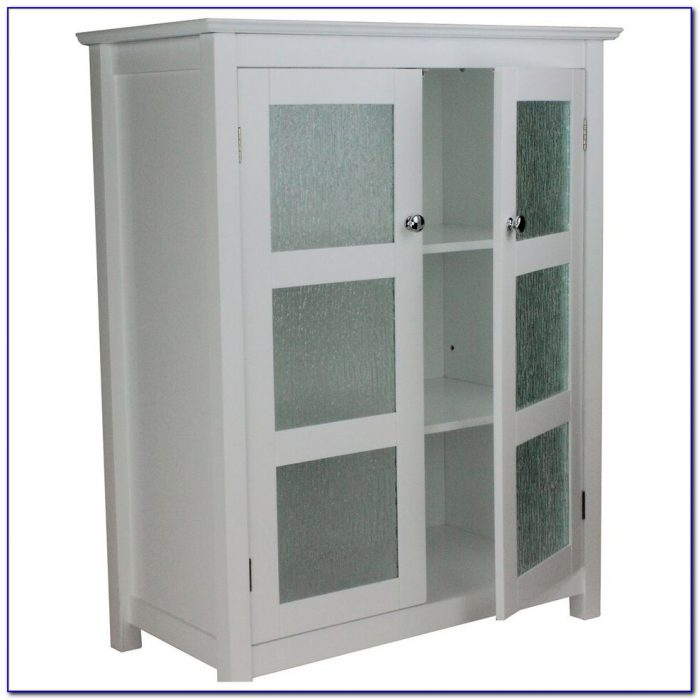 Floor Storage Cabinet With Glass Doors